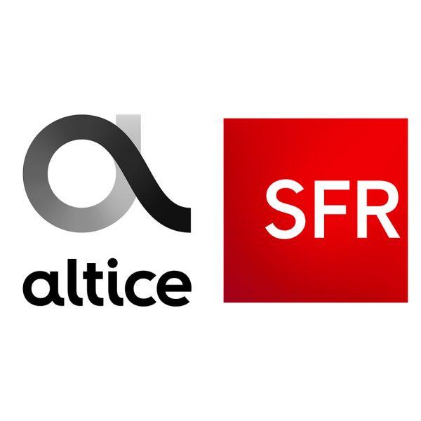 Logos d'Altice et de SFR (Société française du radiotéléphone).