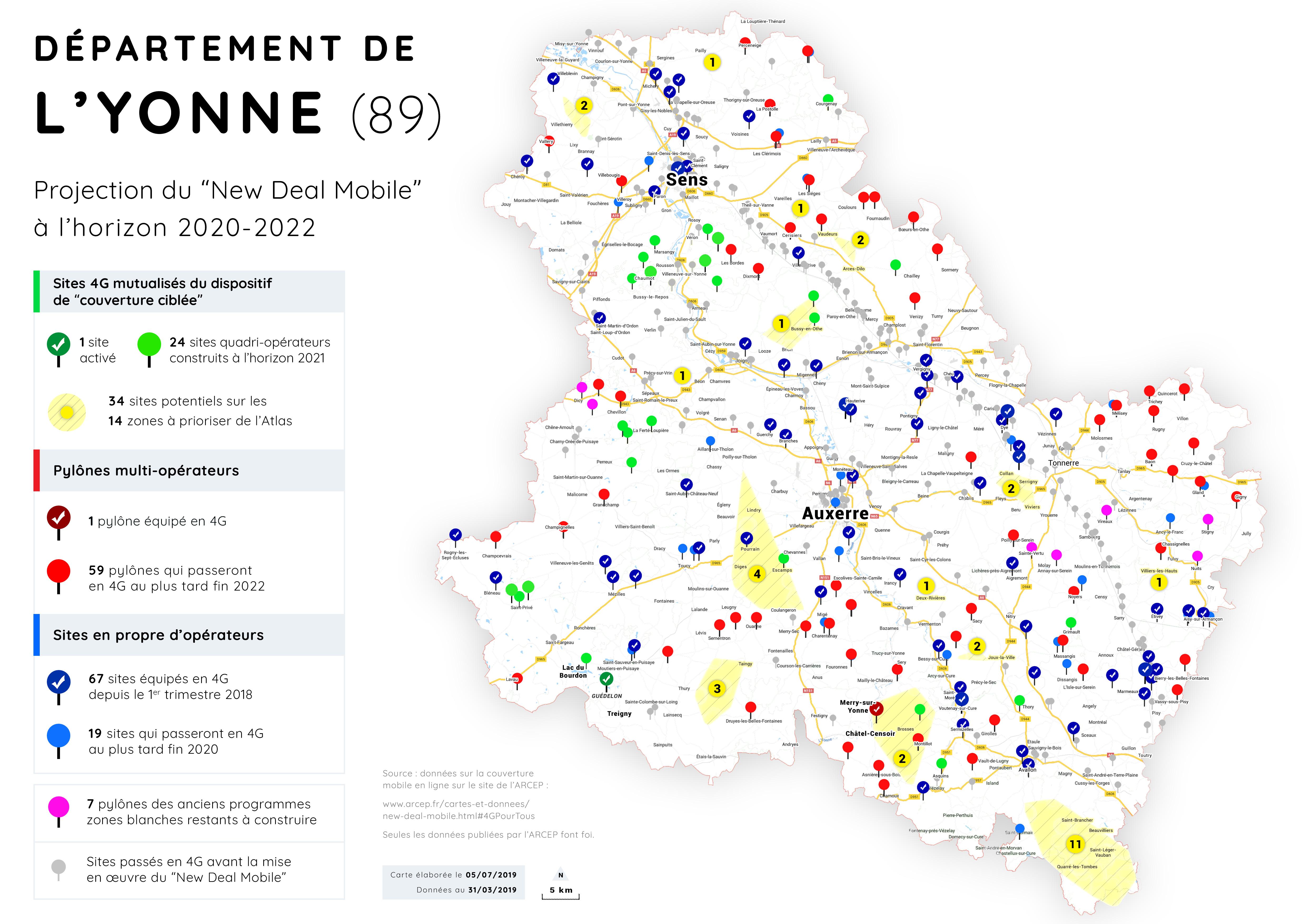 carte de l yonne 89 Carte Yonne (89)   New Deal Mobile   Fédération Française des Télécoms